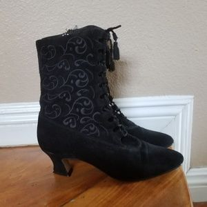 Black suede embroidered pointed toe witchy boots